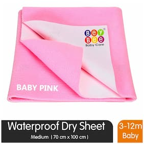 Bey bee Waterproof Bed Protector for New Born Babies and Kids (Medium;Pink)