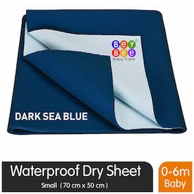 Bey bee Waterproof Baby Bed Protector Dry Sheet for New Born Babies (Small (50cm X 70cm);Dark Sea Blue)
