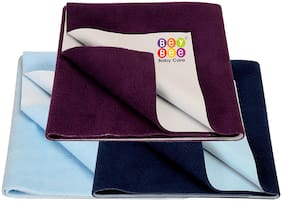 Bey Bee Waterproof Reusable Dry sheet for Infants | Toddlers and Kids Pack of 3 (2 Small Size + 1 Large Size)|(Dark Blue / Plum / Blue)
