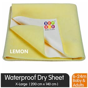 Bey bee Waterproof Baby Bed Protector Dry Sheet for New Born Babies (X-Large (200cm X 140cm);Yellow)