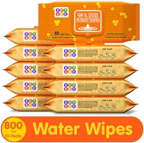 Beybee Baby Water Wipes 80 wipes (Pack of 10)