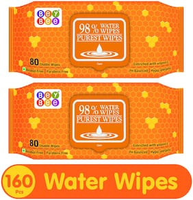 Beybee Hypoallergenic Baby Water Wipes for New Born Babies Sensitive Skin;80 Wipes (Pack of 2)