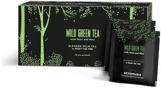 Beyondarie Wild Green Tea with Tulsi and Mint (Tea Pyramids) 50g (Pack of 1)