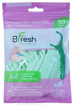 BFresh Flossers 3 in 1 Mint Flavoured Dental Floss Picks 50 pc with Tongue Cleaner for Fresh Breath and Healthy Gums