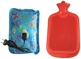 Bg bazzar gali Combo of Gel Pad Electric Warm Bag & Rubber Bottle Hot Water Rubber Bag/Bottle For Pain Relief Assorted Colours (Rubber bottle +Gel Pad )