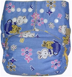 Bhannat Reusable Washable Cloth Diaper with washable Insert (0-3 Years) Blue