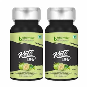 Bhumija Lifescinces Keto life Weight Loss Fat Burner Supplement with (Garcinia Cambogia / Green Tea / Gymnema Sylvestre / Green Coffee Bean / Black Pepper) Extract 600 mg 60 Capsules (Pack of 2)