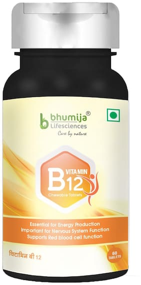 Bhumija Lifesciences Vitamin B12 1500 mcg with Folic Acid and Methylcobalamin Supplements 60 Chewable Tablets