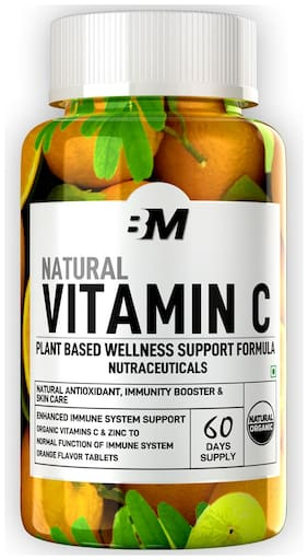 Bigmuscles Nutrition Natural Vitamin C & Zinc Tablets 1000 mg, Immunity, Antioxidant, Skincare (60 tablets) Orange Flavour, Vegan & Keto Friendly, Organic Vitamin C Source Immunity/Immunity Booster