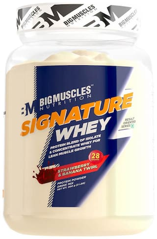 Bigmuscles Nutrition Signature Whey 900 gm (Strawberry & Banana Twirl) - (Stringer Free)