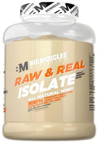 BIG MUSCLES Raw & Real Isolate Whey 4.4 lbs (Unflavoured) - (Stringer Free)