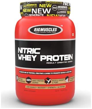 BIG MUSCLES Nitric Whey 900 gm (Strawberry Banana Twirl)