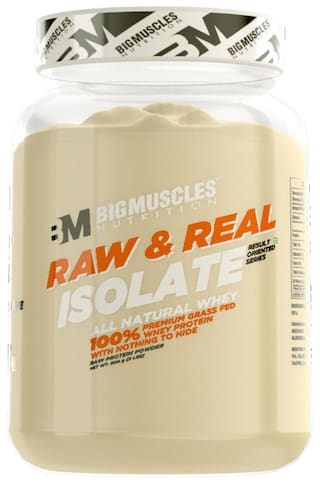 BIG MUSCLES Raw & Real Isolate Whey 2lbs (Unflavoured) - (Stringer Free)