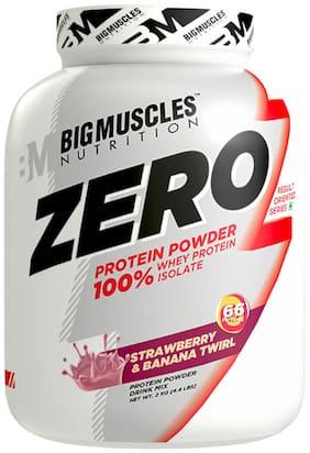 Bigmuscles Nutrition ZERO Protein Powder from 100% WHEY ISOLATE 2 kg ( Strawberry & Banana Twirl)