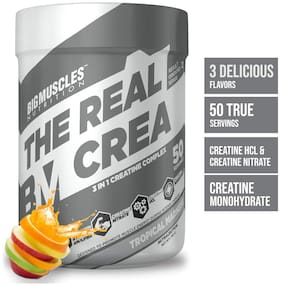 Bigmuscles Nutrition The Real Crea [50 Servings, Tropical Madness] - Micronized 3 IN 1 Creatine Complex -Creatine Nitrate, Creatine HCL, Creatine Monohydrate
