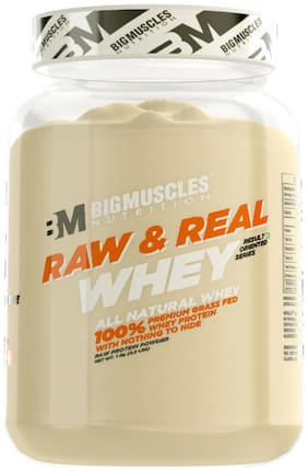 BIG MUSCLES Raw & Real Whey 2.2 lbs ( Unflavoured) - (Stringer Free)