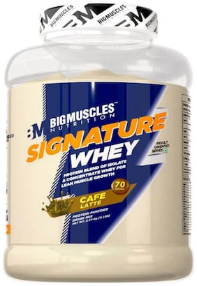 BIG MUSCLES NUTRITION Signature Whey 5lbs (Cafe Latte) - (Stringer Free)