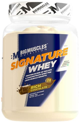 Bigmuscles Nutrition Signature Whey 900 gm (Rich Chocolate) - (Stringer Free)