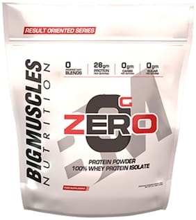 BIG MUSCLES ZERO Protein Powder from 100% WHEY ISOLATE 9 LBS ( Strawberry & Banana Twirl)