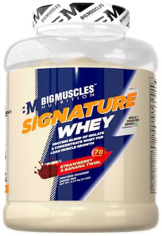 BIG MUSCLES NUTRITION Signature Whey 5lbs (Strawberry & Banana Twirl) - (Stringer Free)