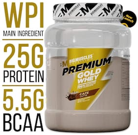 Bigmuscles Nutrition Premium Gold Whey 1Kg[Cafe Latte], Whey Protein Isolate & Whey Protein Concentrate, 25g Protein Per Serving, 0g Sugar, 5.5g BCAA & 4g Glutamic Acid- Free Stringer