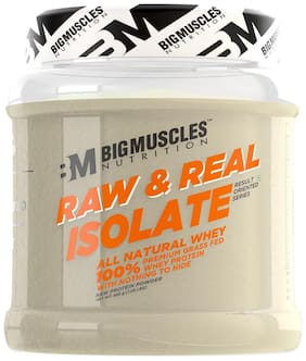 Bigmuscles Nutrition Raw & Real Isolate Organic Whey Protein [480g] - Natural - 90% Protein, Additive Free, Unflavored, 27g Protein With Naturally Ocurring BCAA and Glutamine per serving