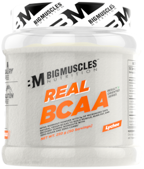 Bigmuscles Nutrition Real BCAA [50 Servings, Lychee] -100% Micronized Vegan, Muscle Recovery & Endurance BCAA Powder, 5 Grams of Amino Acids, Keto Friendly, Caffeine Free