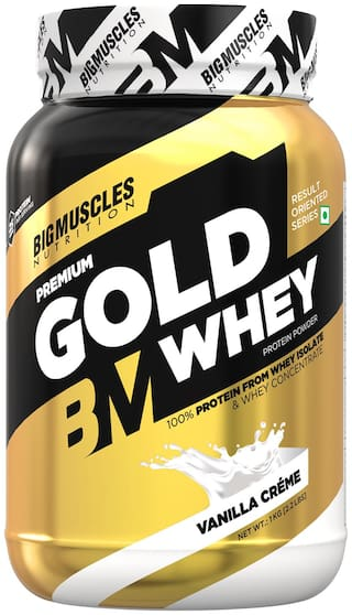 Bigmuscles Nutrition Premium Gold Whey 1Kg[Vanilla Creme], Whey Protein Isolate & Whey Protein Concentrate, 25g Protein Per Serving, 0g Sugar, 5.5g BCAA & 4g Glutamic Acid-Free Stringer