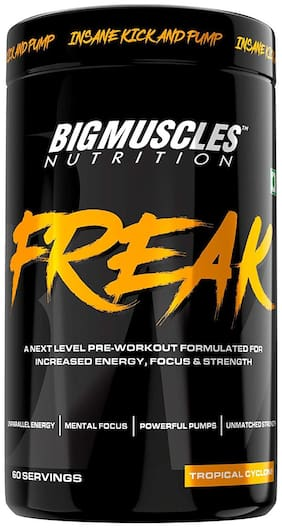 Bigmuscles Nutrition Freak Pre-Workout [60 Servings, Tropical Cyclone]-Explosive Energy, Enhanced Focus, Muscle Strength, Recovery, Legendary Performance