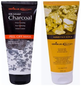 Bio Care Combo Of Charcoal Peel Off And Gold Scrub (200 ml Each)