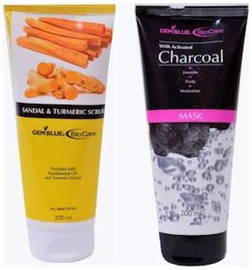 Bio Care Combo Of Charcoal Mask And Sandal And Turmeric Scrub (200 ml Each)