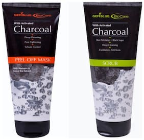 Bio Care Combo Of Charcoal Peel Off Mask And Charcoal Scrub (200 ml Each)