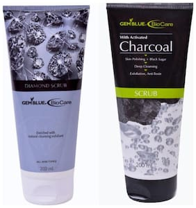 Bio Care Combo Of Diamond Scrub And Charcoal Scrub (200 ml Each)