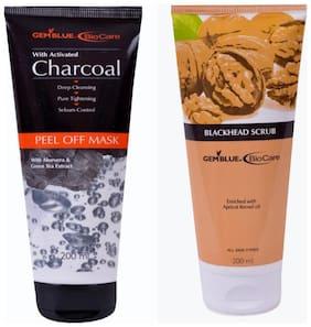 Bio Care Combo Of Charcoal Peel Off Mask And Blackhead Scrub (200 ml Each)