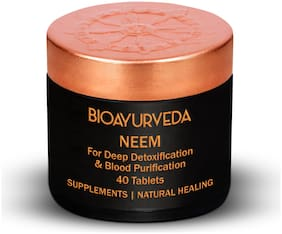 BIOAYURVEDA Neem (margosa)/ (Azadirachtaindica)Tablets Pure Herbal SupplementsSupports Skin Health/ Promotes Detoxification of Blood/ Assist Digestive Functions USDA Organic 40 Tablets