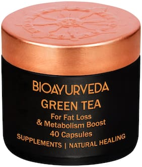 BIOAYURVEDA Green Tea Capsules Green Tea Extract Supplement Decaffeinated/ Vegan/ Certified Organic for Supporting Healthy Weight/ Antioxidant Support and Heart health 40 Capsules