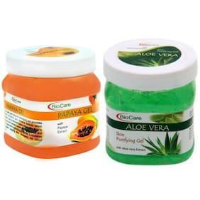 Biocare Aloe Vera Gel 500 ml; Papaya Gel 500 ml Combo ( Pack of 2 )