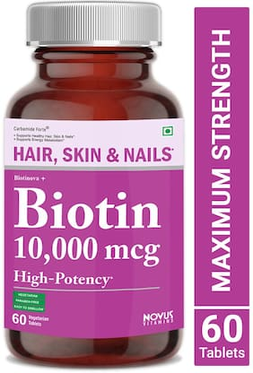 Biotin (High Potency) 10000 mcg per Veg Tablet - Supports Hair Growth, Glowing Skin and Strong Nails | Biotinova (60 Tablets)