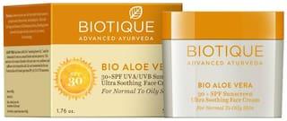 Biotique Bio Aloe Vera 30+ Spf Sunscreen Ultra Soothing Face Cream 50 g