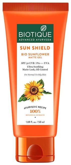 Biotique Bio Sunflower Matte Gel SPF50 UVB/PA+++ UVA Ultra Soothing Matte Look;Oil Control 50ml