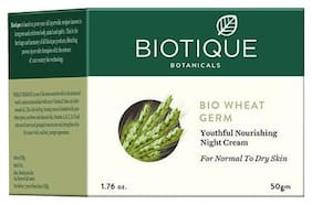 Biotique Bio Wheatgerm Youthful Nourishing Night Cream For Normal To Dry Skin 50 Gm