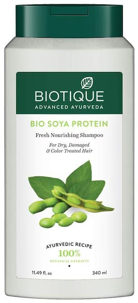 Biotique Bio Soya Protein Fresh Nourishing Shampoo for Dry Damaged and Color Treated Hair,340ml