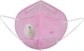 Birde N95 Mask Filter Pro 5 Layer Triple Particle Filtration System With Respirator Washable And Reusable Pink ( Pack of 1 )