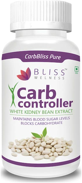 Bliss welness Carb Bliss Pure White Kidney Bean Extract Carb Blocker 100% Vegetarian Health Supplement - 60 Vegetarian Capsules