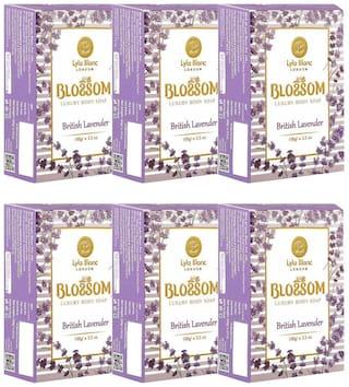 BLOSSOM British Lavender Soap for Men & Women - Pack of 6 (3 x 100 g)