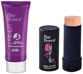 Blue Heaven Combo of Primer 30g and Xpression Concealer Stick 10g (Pack of 2)