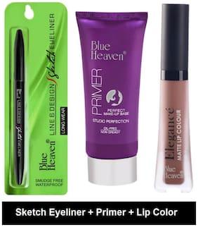 Blue Heaven Sketch Black Eyeliner(0.31 gm);Oil Free Primer(30 gm) & Nude Lip Color(6 ml) (Pack of 3)