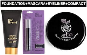 Blue Heaven Combo of Tube Foundation 50ml;2in1 Mascara Eyeliner 10ml and Artisto Compact 12g