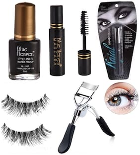Blue Heaven Classic Mascara (6.5 ml)Classic Eyeliner (7 ml) Innocence Kajal (0.80 g) False Eyelashes (2 g) Eyelash Curler 15 g (Pack of 5)