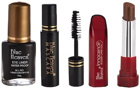 Blue Heaven Pack of 3 Classic Eyeliner 7ml;Classic Mascara 6.5ml & Innocence Glossy Lipsticks Shade#10 Coffee Brown(4 g)